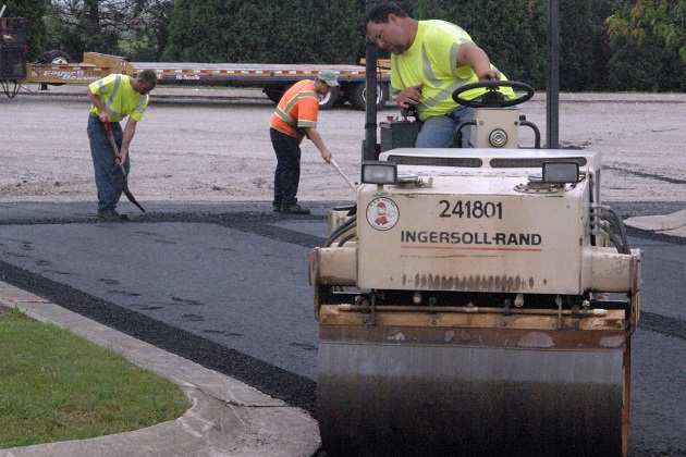 Paving a new asphalt lot